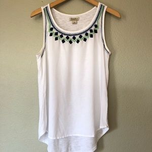 Lucky Brand Tank Top Embroidered White Women's S